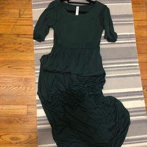 Hunter green maxi dress half sleeves Small